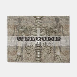 Halloween Skeleton Family Name Spooky Welcome Doormat