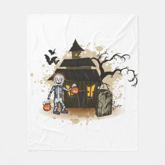 Halloween skeleton haunted house fleece blanket