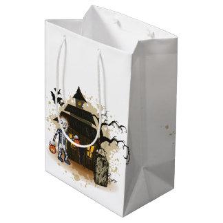 Halloween skeleton haunted house medium gift bag