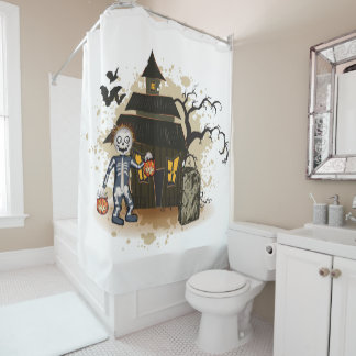 Halloween skeleton haunted house shower curtain