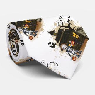 Halloween skeleton haunted house tie