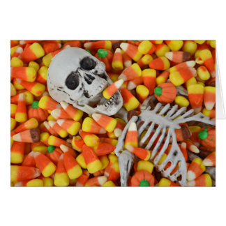 Halloween skeleton in candy card
