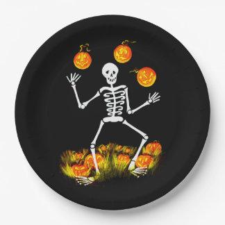 Halloween skeleton paper party plates