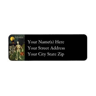 Halloween Skeleton Vintage Halloween Return Address Label