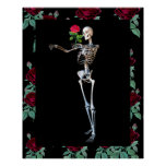 Halloween Skeleton With Rose Poster