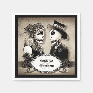 Halloween Skeletons Antique Names Wedding Napkins Paper Serviettes