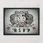 Halloween Skeletons Black Grey & Red Heart RSVP Invitation Postcard