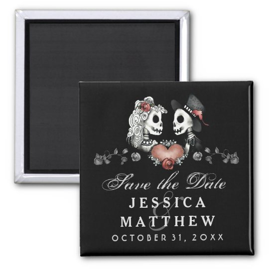 Halloween Skeletons Black Heart Save the Date Magnet