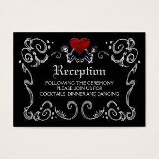 Halloween Skeletons & Heart Black White Reception Business Card