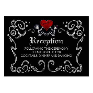 Halloween Skeletons & Heart Black White Reception Pack Of Chubby Business Cards