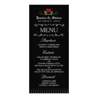 Halloween Skeletons & Heart Matching Wedding Menu Customized Rack Card
