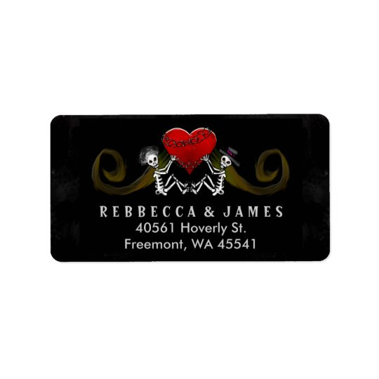 Halloween Skeletons & Heart Wedding Address Label