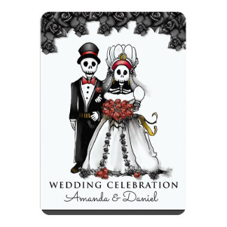 Halloween Skeletons Red Bride Groom Together With Card