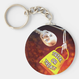Halloween Skeletons Trick or Treat Basic Round Button Key Ring