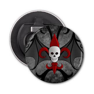 Halloween skull and red fleur de lis button bottle opener
