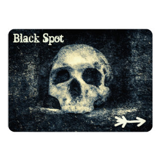Halloween Skull Black Spot Pirate Party Card