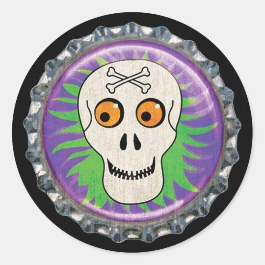 Halloween Skull Bottle Cap Classic Round Sticker