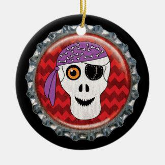 Halloween Skull Bottle Cap Image Ceramic Ornament
