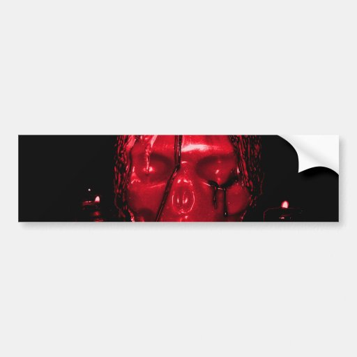 Halloween Skull Candle (Red) Bumper Sticker