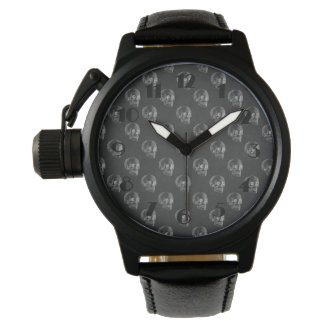 Halloween Skull Chalkboard Pattern Wrist Watches