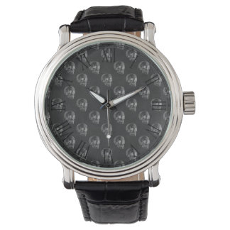Halloween Skull Chalkboard Pattern Wristwatch