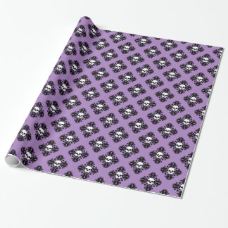 Halloween skull damask wrapping paper