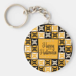 Halloween skull mosaic basic round button key ring