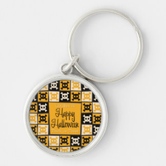 Halloween skull mosaic Silver-Colored round key ring