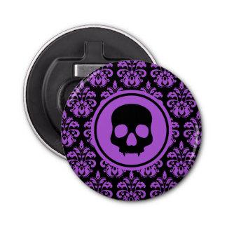 Halloween skull on damask black and purple button bottle opener
