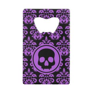 Halloween skull on damask monogram credit card bottle opener