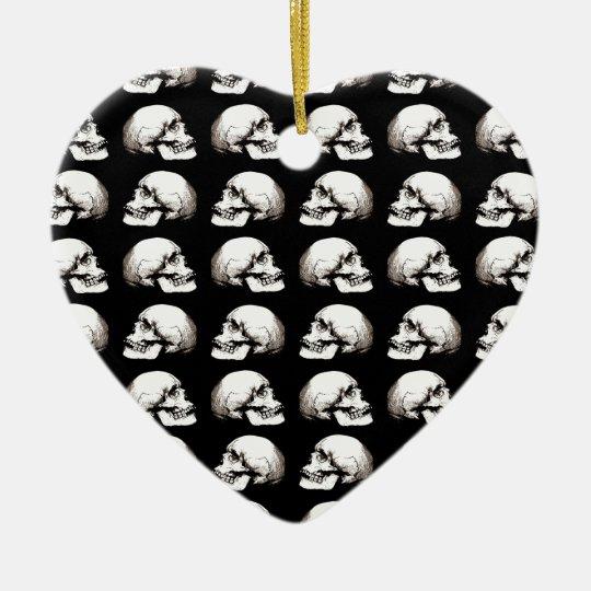 Halloween skull pattern ceramic ornament