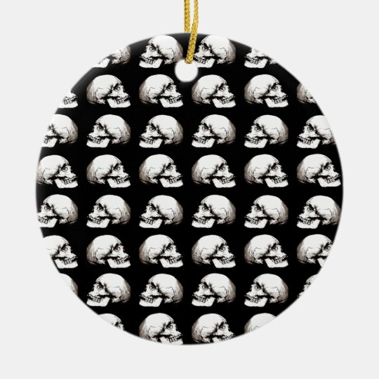 Halloween skull pattern ceramic ornament
