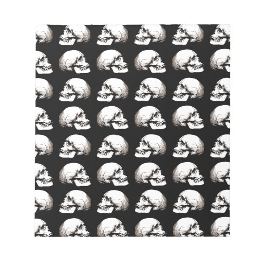 Halloween skull pattern notepad