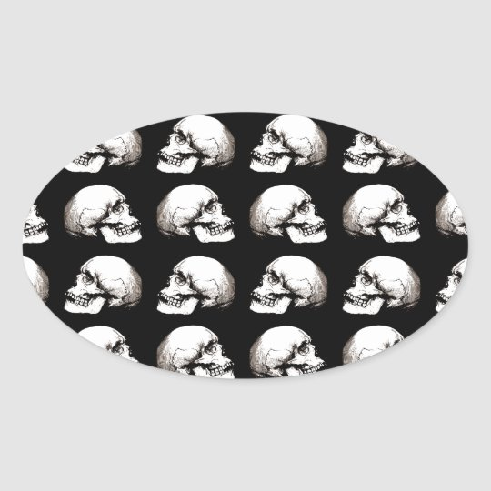Halloween skull pattern oval sticker