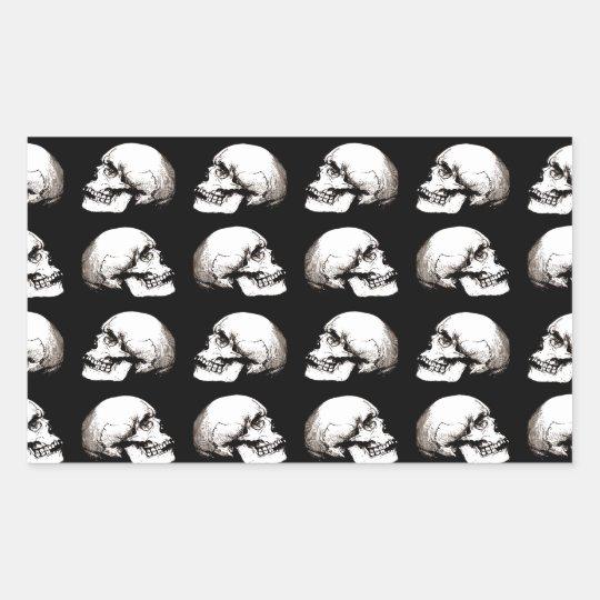 Halloween skull pattern rectangular sticker