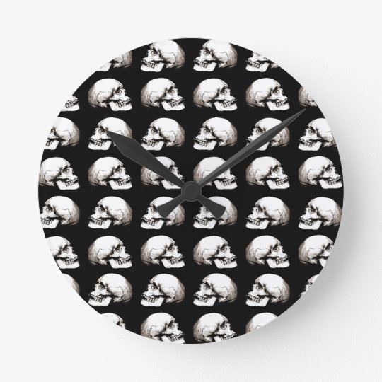 Halloween skull pattern round clock