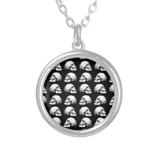 Halloween skull pattern silver plated necklace