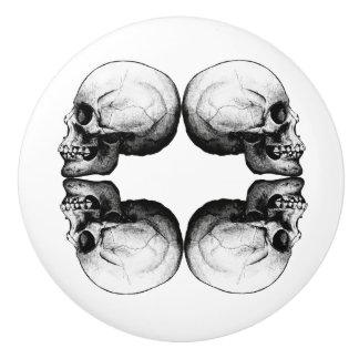Halloween Skull Protection Bones Profile Round Ceramic Knob