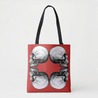 Halloween Skull Protection Bones Profile Round Tote Bag