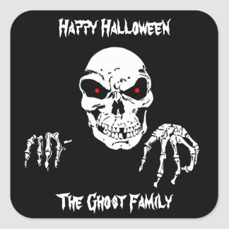 Halloween Skull Square Sticker