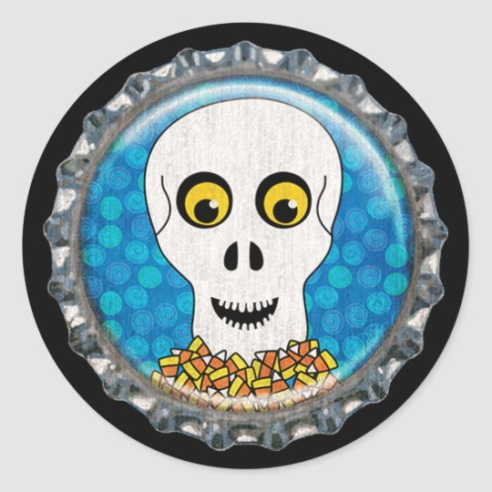 Halloween Skull with Candy Corn Bottle Cap Classic Round Sticker