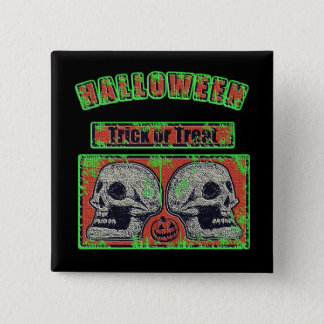 Halloween Skulls -Trick Or Treat Worn Green 15 Cm Square Badge