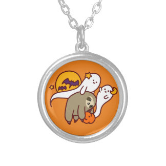 Halloween Sloth Silver Plated Necklace