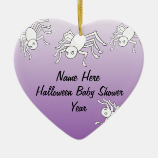 Halloween Spider Baby Shower Heart Ornaments