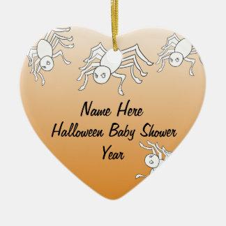 Halloween Spider Baby Shower Heart Ornaments