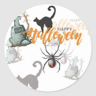 Halloween Spider Grave Classic Round Sticker