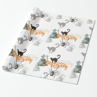 Halloween Spider Grave Wrapping Paper