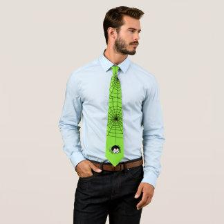 Halloween Spider Web Bright Green Shirt Tie