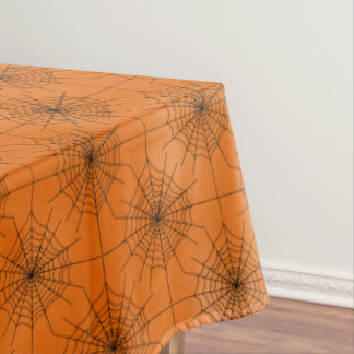 Halloween Spider Web with Spiders on Orange Tablecloth
