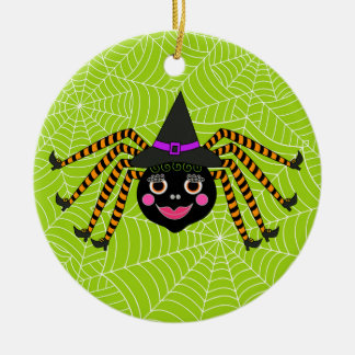 Halloween Spider Witch Personalized Ceramic Ornament